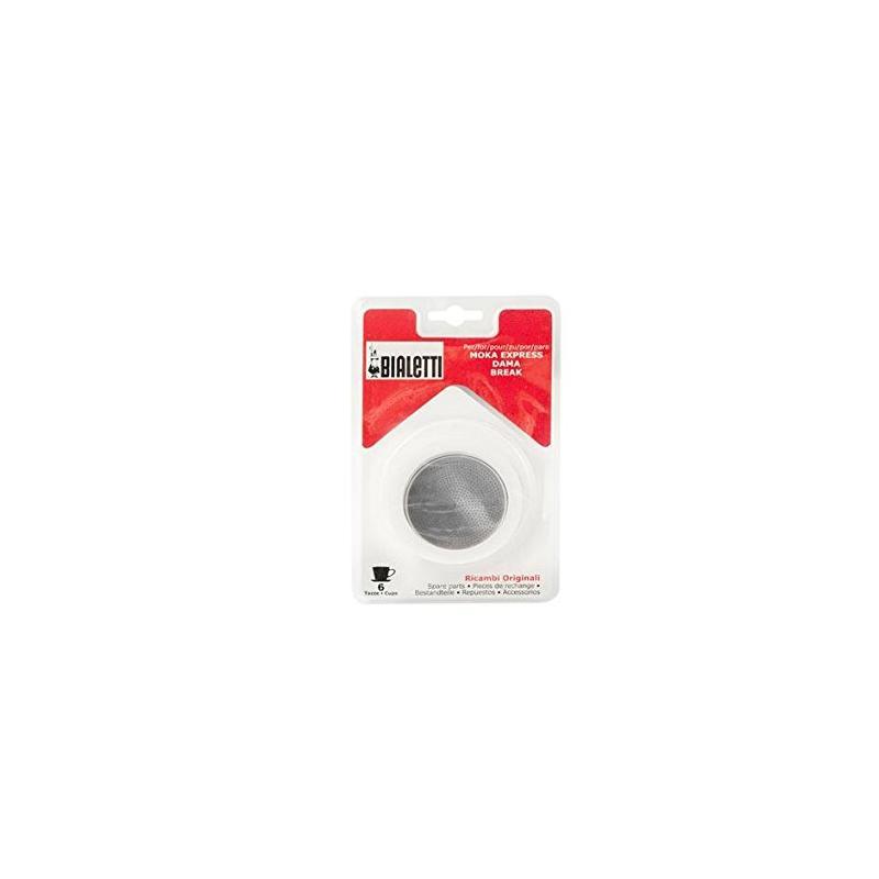 Bialetti - 109743 - 3 Joints + 1 Grille alu micro-filtre Pour cafetière facettes alu- 6 Tasses