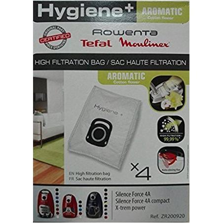 Lot 4 sacs haute filtration  Hygiène+  Aromatic Fleur cotton pour Silence ForceTM ZR200920